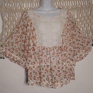 Torrid pink floral embroidered lace flutter top